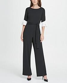 Colorblack Flare Sleeve Jumpsuit