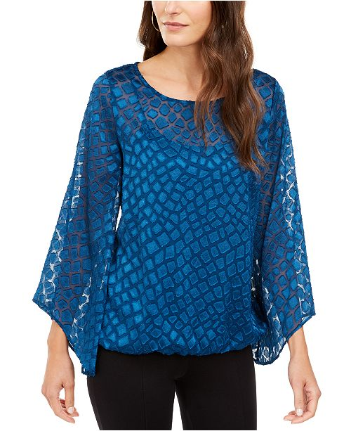 Alfani Angel-Sleeve Bubble Top, Created for Macy's