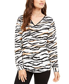 V-Neck Animal-Print Top, Created for Macy's
