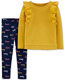 Baby Girls 2-Pc. Ruffle-Trim Top & Printed Leggings Set