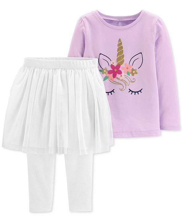 Glittery Logo Set: Carter's Baby Girls 2-Pc. Unicorn T-Shirt & Tutu Leggings
