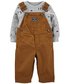 Baby Boys 2-Pc. Cotton Camping-Print T-Shirt & Overalls Set