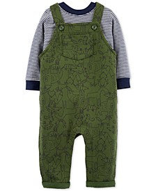 Baby Boys 2-Pc. Cotton Striped T-Shirt & Animal-Print Overalls Set
