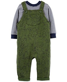 Carter's Baby Boys 2-Pc. Cotton Striped T-Shirt & Animal-Print Overalls Set