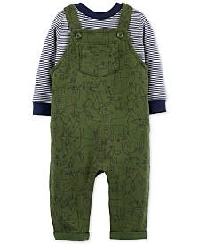 Carter's Baby Boys 2-Pc. Cotton Striped T-Shirt & Animal-Print Overalls Set