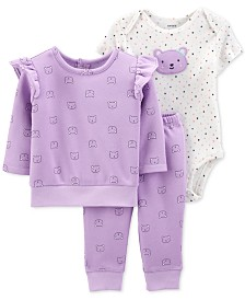 Carter's Baby Girls 3-Pc. Printed Bear Sweatshirt, Bodysuit & Jogger Pants Set