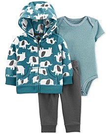 Baby Boys 3-Pc. Elephant Jacket, Bodysuit & Jogger Pants Set