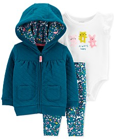 Carter's Baby Girls 3-Pc. Bodysuit, Quilted Hoodie & Leggings Set