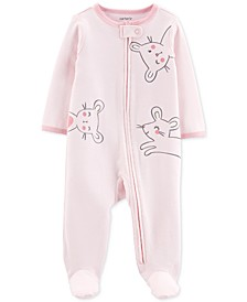 Baby Girls 1-Pc. Footed Mouse Sleep and Play