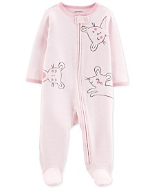 Carter's Baby Girls 1-Pc. Footed Mouse Sleep and Play