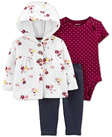 Baby Girls 3-Pc. Quilted Cardigan, Bodysuit & Denim Leggings Set