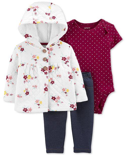 Carter's Baby Girls 3-Pc. Quilted Cardigan, Bodysuit & Denim Leggings Set