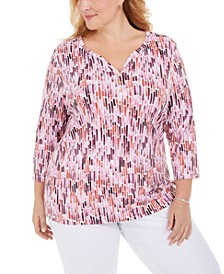 Plus Size Printed 3/4-Sleeve Henley Top, Created for Macy's
