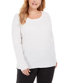Karen Scott Plus Size Stripe Textured Sweater, Created For Macy's