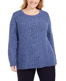 Plus Size Cable-Knit Panel Sweater, Created for Macy's