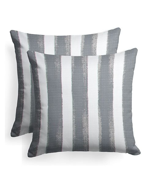 "EF Home Decor EF Home Decor Indoor/Outdoor Reversible Square Throw Pillow 18"" X 18"", Set Of 2"