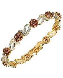 Prime Art & Jewel 18K Gold Over Sterling Silver Garnet with Diamond Accent Bracelet
