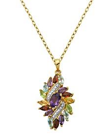 Prime Art & Jewel 18K Gold Over Sterling Silver Multi Stone Cluster Pendant