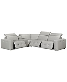 "Haigan 5-Pc. Leather ""L"" Shape Sectional Sofa with 3 Power Recliners, Created for Macy's"