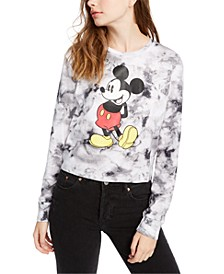 Juniors' Tie-Dyed Mickey Mouse Graphic-Print Top