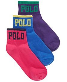 Polo Ralph Lauren Logo Ankle Socks, 3-Pack