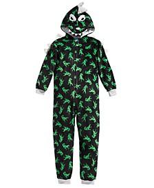 Big Boys 1-Pc. Hooded Dino-Print Pajamas, Created For Macy's
