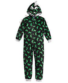 Max & Olivia Big Boys 1-Pc. Hooded Dino-Print Pajamas, Created For Macy's