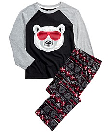 Big Boys 2-Pc. Sunglasses Bear Pajama Set With Faux Sherpa