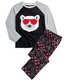 Max & Olivia Big Boys 2-Pc. Sunglasses Bear Pajama Set With Faux Sherpa