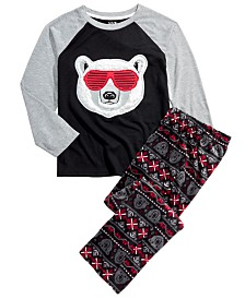 Max & Olivia Big Boys 2-Pc. Sunglasses Bear Pajama Set With Faux Sherpa