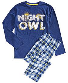 Max & Olivia Big Boys 2-Pc. Night Owl Pajama Set