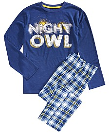 Max & Olivia Big Boys 2-Pc. Night Owl Pajama Set