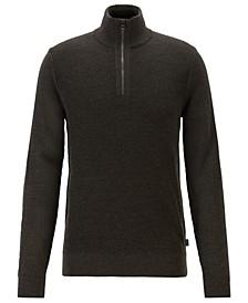 BOSS Men's Bizzino Regular-Fit Zip-Neck Virgin Wool Sweater