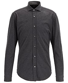 BOSS Men's Ridley Slim-Fit Melange Jersey Shirt