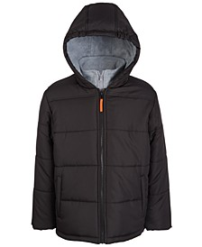 Big Boys Hooded Puffer Jacket With Sweatshirt Bib