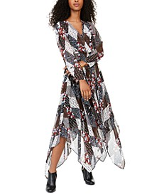 Printed Faux-Wrap Peasant Dress