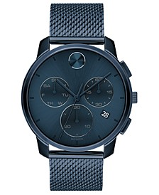 Men's Swiss Chronograph Bold Blue Ion-Plated Stainless Steel Mesh Bracelet Watch 42mm