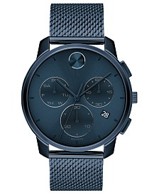 Movado Men's Swiss Chronograph Bold Blue Ion-Plated Stainless Steel Mesh Bracelet Watch 42mm
