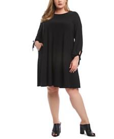 Karen Kane Plus Size Tie-Cuff Swing Dress
