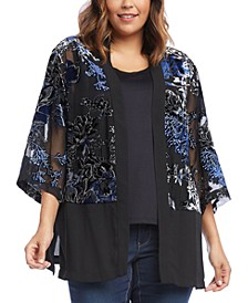 Plus Size Embroidered Semi-Sheer Kimono