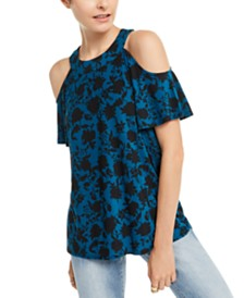 I.N.C. Petite Cold Shoulder Printed Top, Created for Macy's