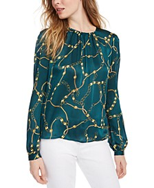 Chain-Print Pleated Top
