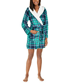 Jenni Faux-Fur-Trim Plaid Robe, Created For Macy's