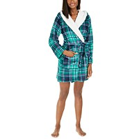 Jenni Faux-Fur-Trim Plaid Robe