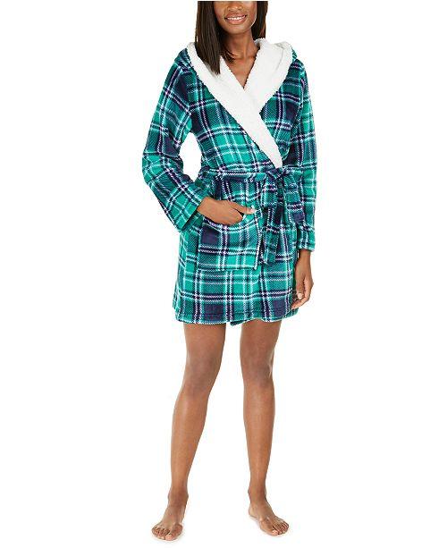 Jenni Faux-Fur-Trim Plaid Robe, Created For Macy's