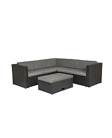 Westin Furniture 6-Piece Modern Sectional Set with Storage Ottoman