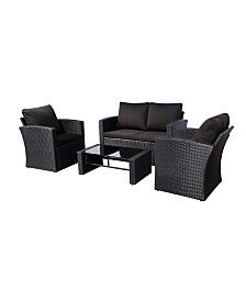 Westin Furniture 4-Piece Conversation Sofa Set with Plush Cushions