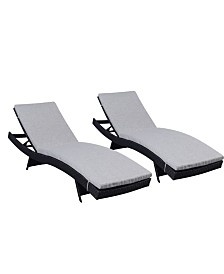 Westin Furniture Modern Chaise Lounge with Cushion, Set of 2
