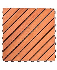 Outdoor Patio 12-Diagonal Slat Eucalyptus Interlocking Deck Tile Set of 10 Tiles