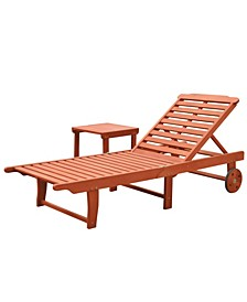 Malibu Outdoor Patio Wood 2-Piece Beach and Pool Lounge Set